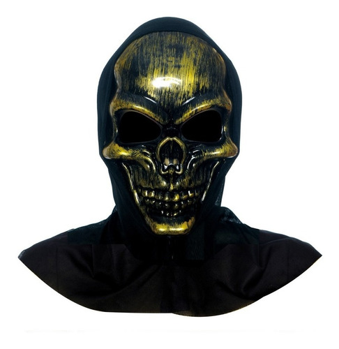 máscara de terror caveira ouro acessório carnaval fantasia