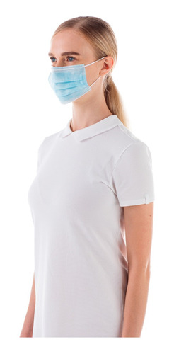 máscara descartável raysen tripla camada com clipe nasal e