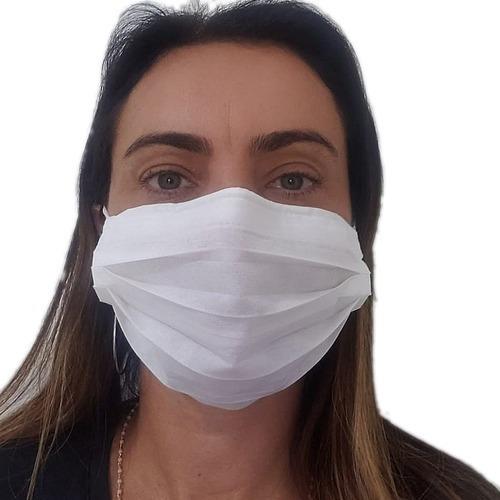 mascara descartável tnt com clip nasal - kit c/ 100 máscaras