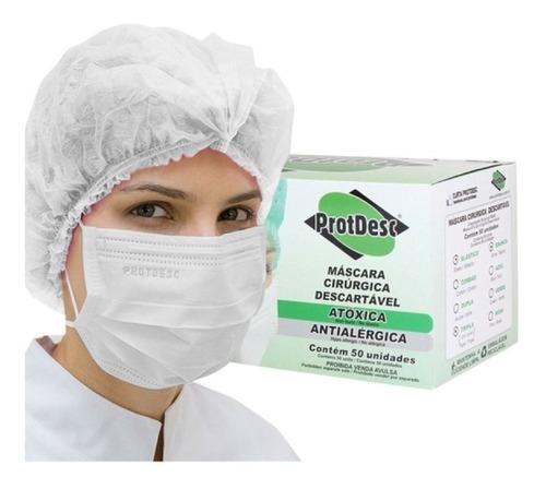 máscara descartável tripla c/ elástico branca 50 unid