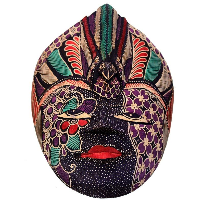 e82d30a78 Máscara Em Madeira Batik Tribal Decoração De Parede 22cm - R  79