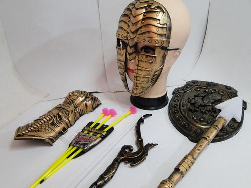 mascara escudo arco flecha bracelete lança gladiador medieva