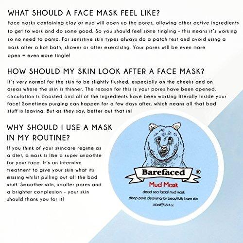 máscara facial de barro del mar muerto bebarefaced - trata