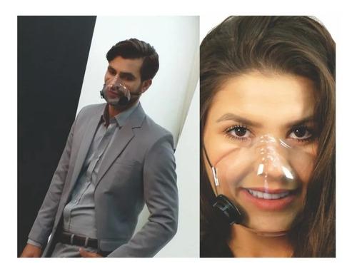 máscara facial transparente com filtro carvão ativado