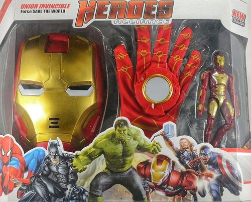 mascara iroman spiderman hulk cap con discos de plástico