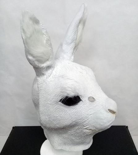 mascara latex conejo coneja blanco pelos animales disfraces