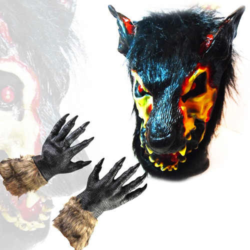 mascara lobo latex terror halloween adulto + guantes garra