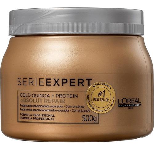 máscara loreal absolut repair gold quinoa + protein 500g +nf