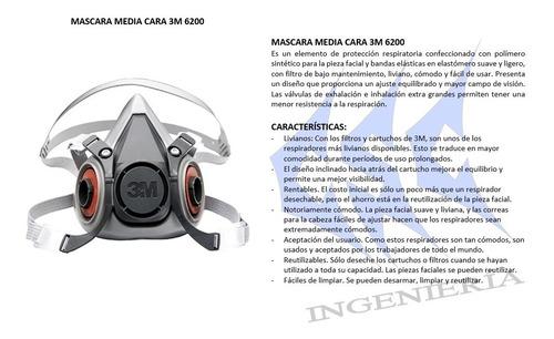 mascara media cara / 3m 6200 / 6100 / 6300 (original)