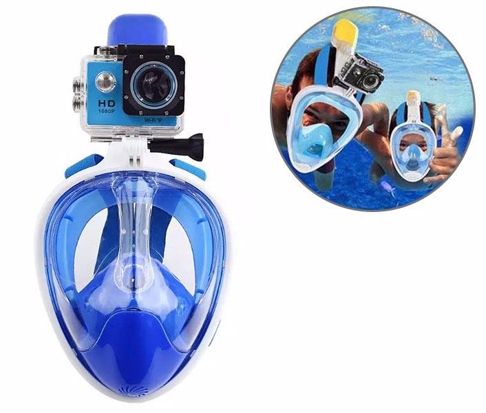 cdcbe6629 Mascara Mergulho Full Face Snorkel Suporte Camera Nao Embaça - R  228