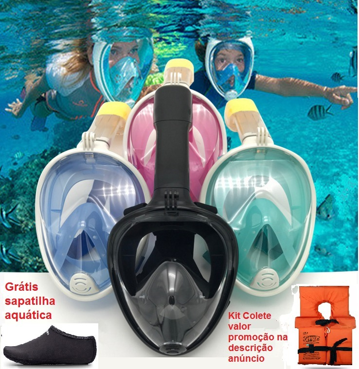 988b1f660 Mascara Mergulho Snorkel Face + Brinde Sapatilha - R  149