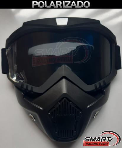 máscara moto con gafas polarizados, tornasolado o espejado