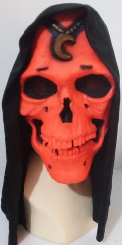 mascara muerte naranja luna ojo negro latex capucha hallowee