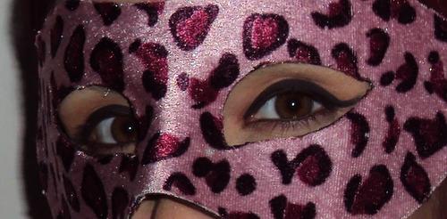 máscara onça rosa camurça animal print leopard cosplay