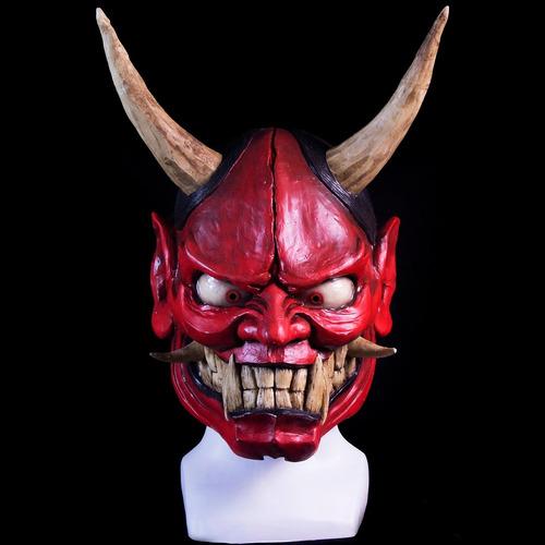 máscara oni roja samurai demonio japonés
