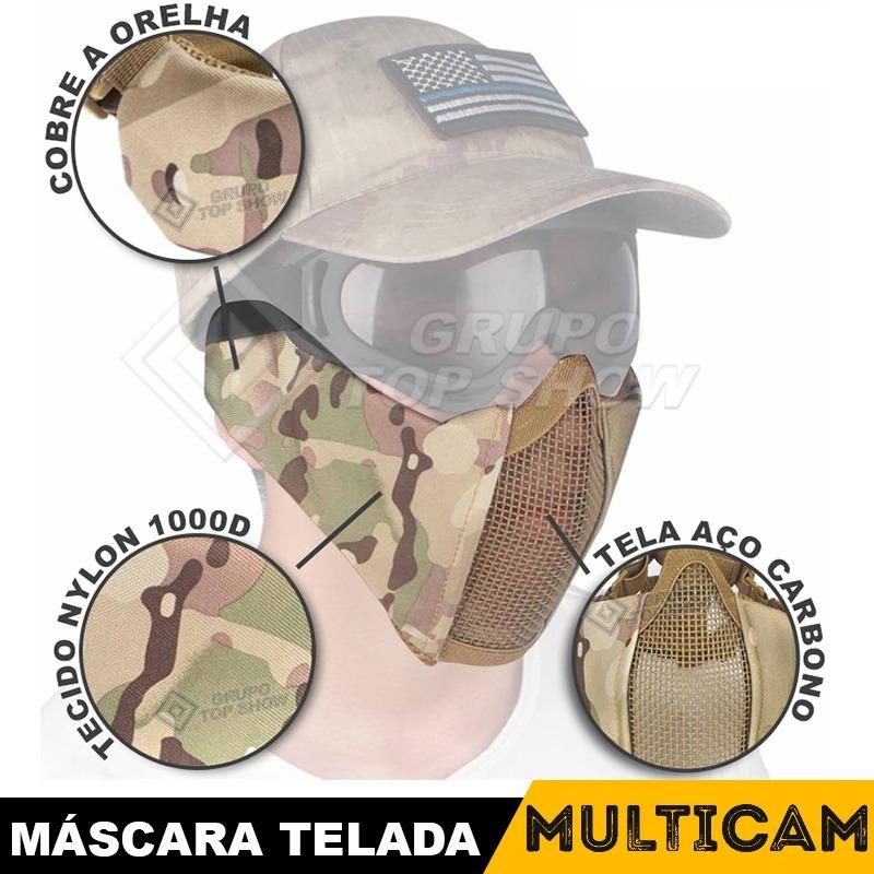 6e288d1a5d82f mascara para airsoft meia face metal proteção orelha metal. Carregando zoom.