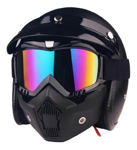 mascara para capacete bobber old school moto viseira azul