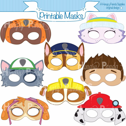 mascara patrulha canina 15x7cm ate 8 personagens