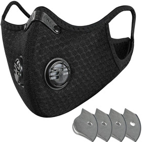 Máscara Preta Para Ciclismo Ou Moto - Com Filtro Lavável