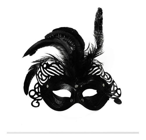 máscara preta penas acessório carnaval fantasia