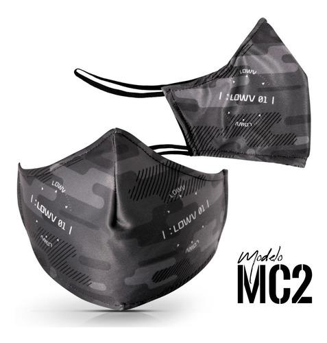 máscara proteção contra vírus 2 camadas cinza lowv