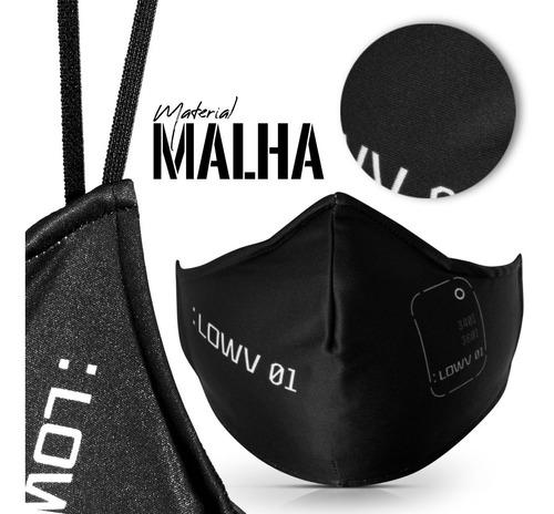 máscara proteção contra vírus 2 camadas preta lowv