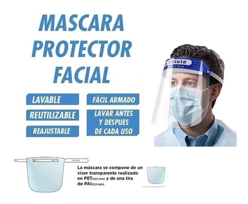 mascara protector facial visor transparente lavable tapaboca