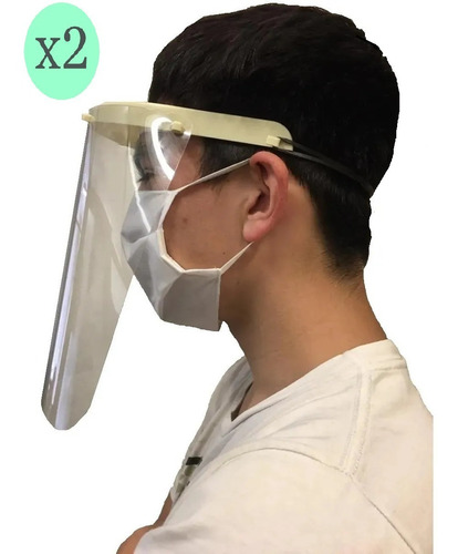 máscara protectora facial plastica reutilizable x 2 unidades