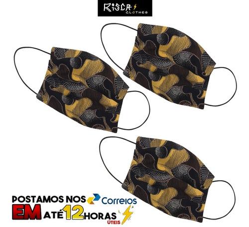 máscara protetora 3untecido 100% algodao dupla marrom/preta
