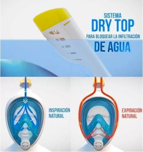 f5b8dc5c6 Máscara Snorkel Easybreath Full Face Cara Completa P  Gopro ...