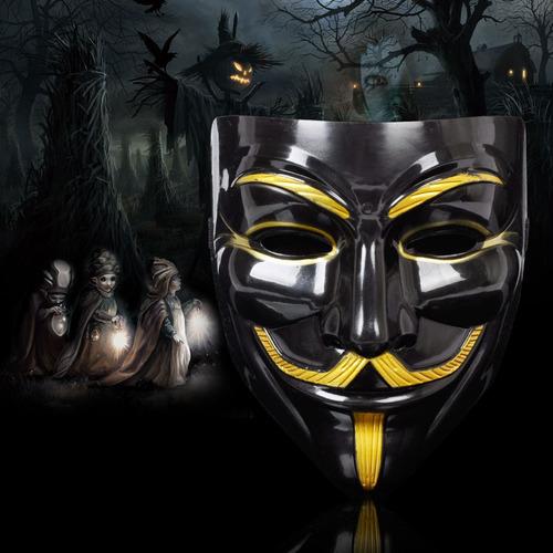 mascara v de vingança anonymous vendetta preta e dourada