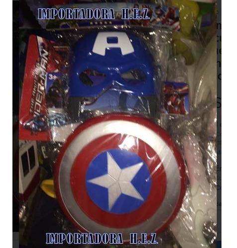 mascara y escudo capitán america vengadores spiderman
