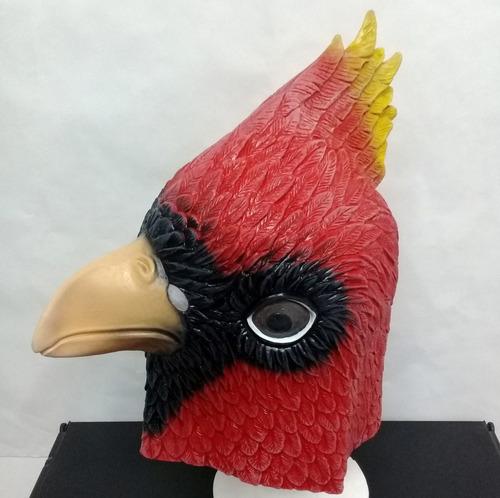 mascaras de latex pajaro cardenal norteño rojo aves disfraz