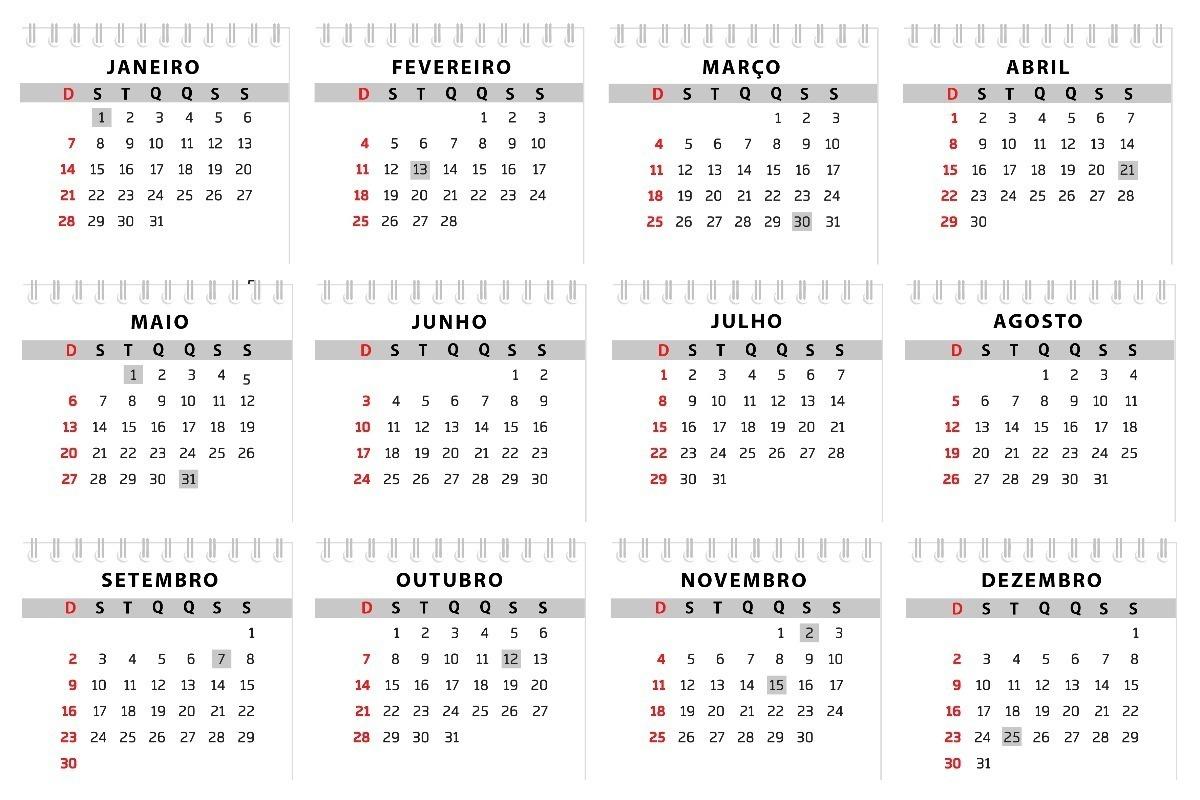 Calendario 2018 Brasil Excel