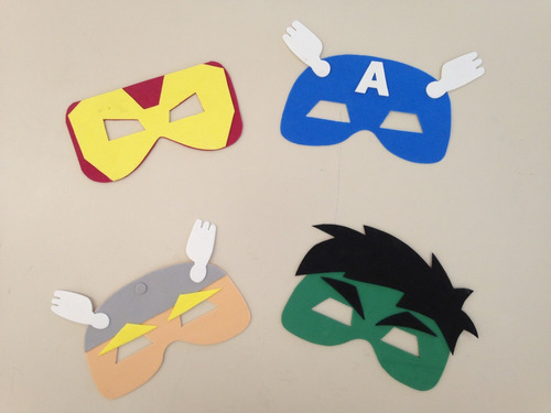 máscaras em e.v.a super herois 60 unidades.