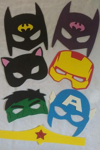 máscaras hérois marvel e dc em eva 20 unidades