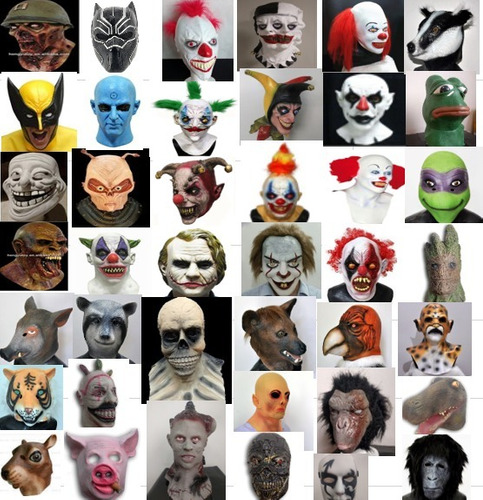 mascaras latex terror halloween payaso  arlequin  disfraz