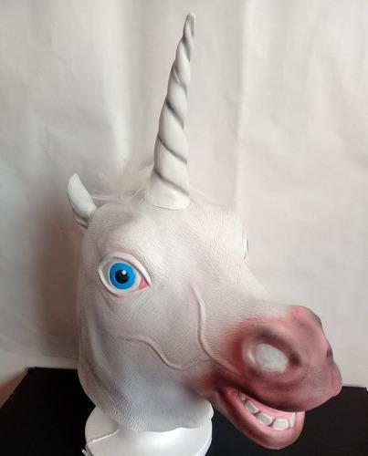 mascaras unicornio loco latex caballo blanco disfraz adulto