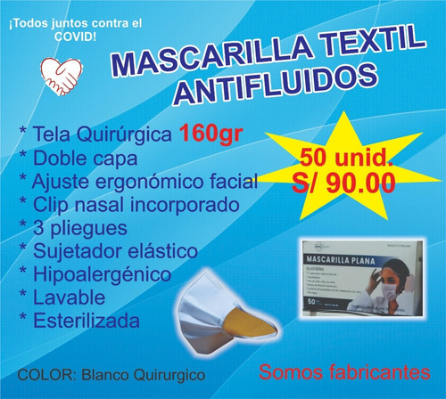 mascarilla 3 pliegues notex doble capa lavable (minsa)