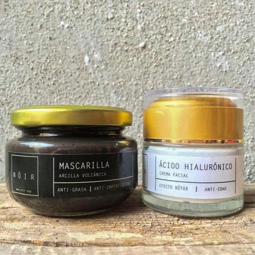 mascarilla carbón activado + crema de ácido hialurónico