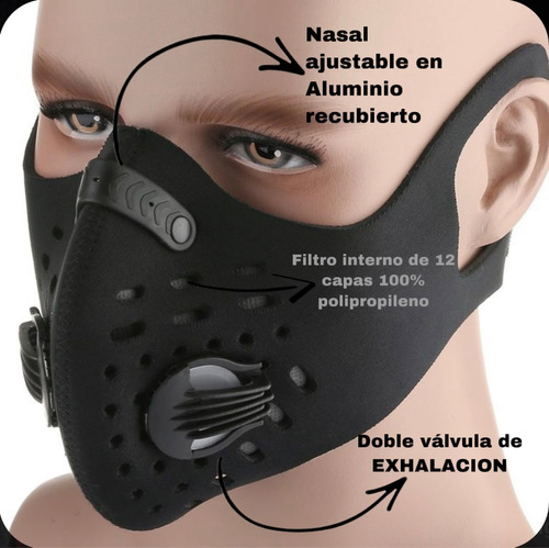 mascarilla deportiva, filtro interno con protección kn95.