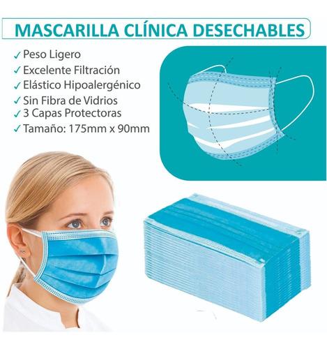 mascarilla desechable quirúrgica  50 unidades 3 pliegues