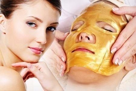 mascarilla facial de colágeno de oro