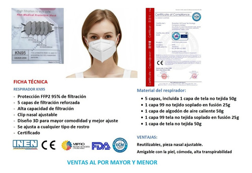 mascarilla kn95 ffp2 - importada - fda - ce - inen - 5 capas