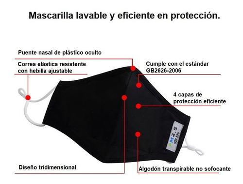 mascarilla lavable y reutilizable con 5 filtros pm2.5 cert.