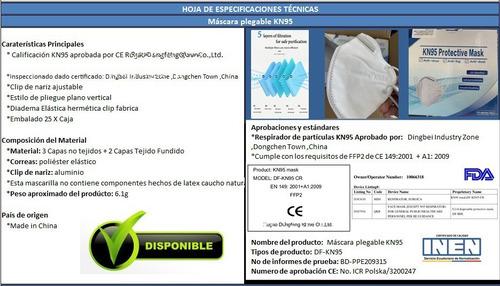 mascarilla n95 kn95 ffp2, 5 capas, inen importada ce fda un