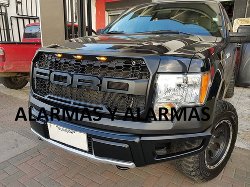 mascarilla raptor ford f150 2009-15 negra luz led letra ford