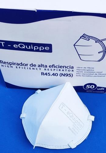 mascarilla / respirador 45.40 (n95) blanco x 12 unidades