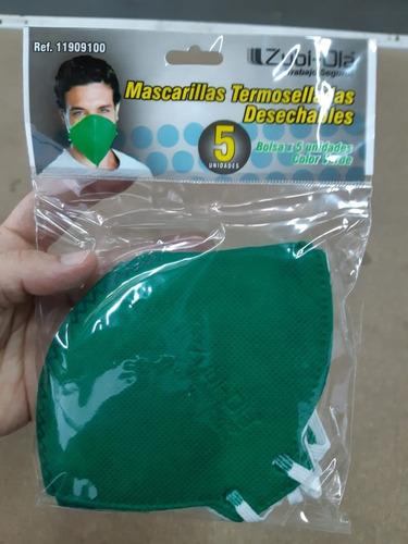 mascarilla tapabocas termosellada color verde x 20 unidades