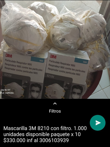 mascarillas 3m por cantidades buenas inf al 3006103939